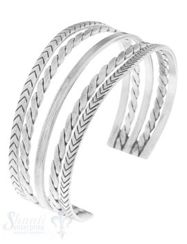 Armspange Silber antik 5 Stränge , gezopft, glatt,