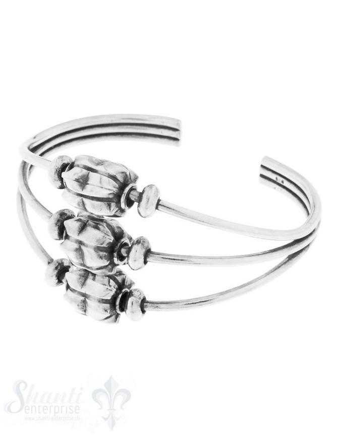 Armspange Silber geschwärzt 3-fach mit Zwischen- teilen lose