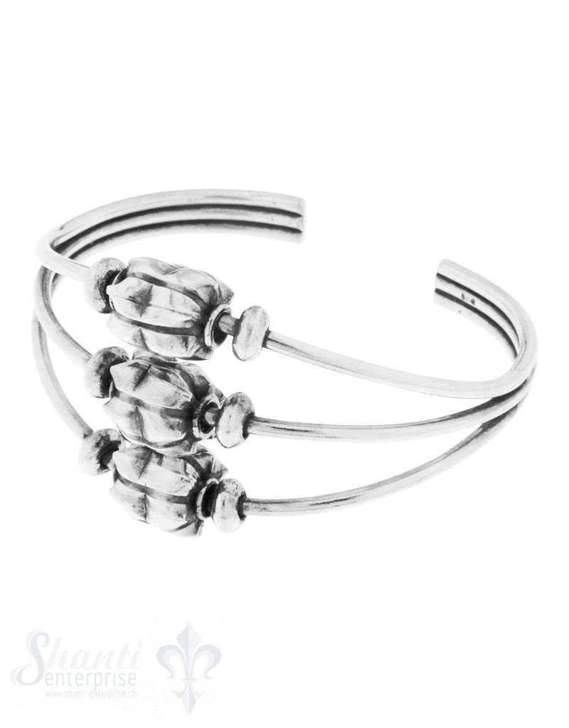 Armspange Silber geschwärzt 3-fach mit Zwischen-