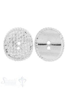 Knopf Silber hell oval 14x12 mm gewölbt mit 2 Löch
