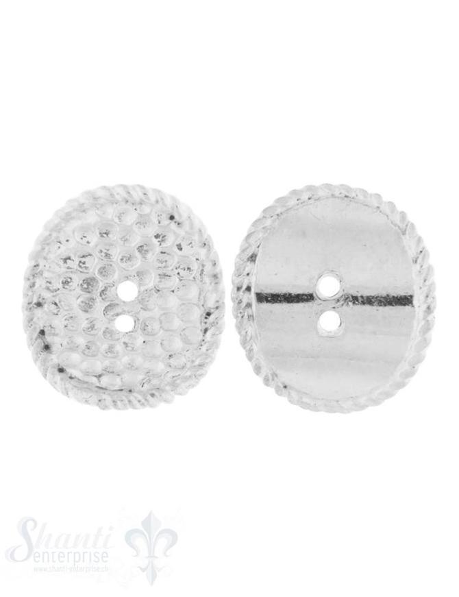 Knopf Silber hell oval 14x12 mm gewölbt mit 2 Löch ern iD 1 mm 1 Pack = 4 Stk. ca. 5 gr.