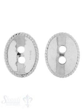 Knopf Silber hell oval 17x13 mm gewölbt mit 2 Löch