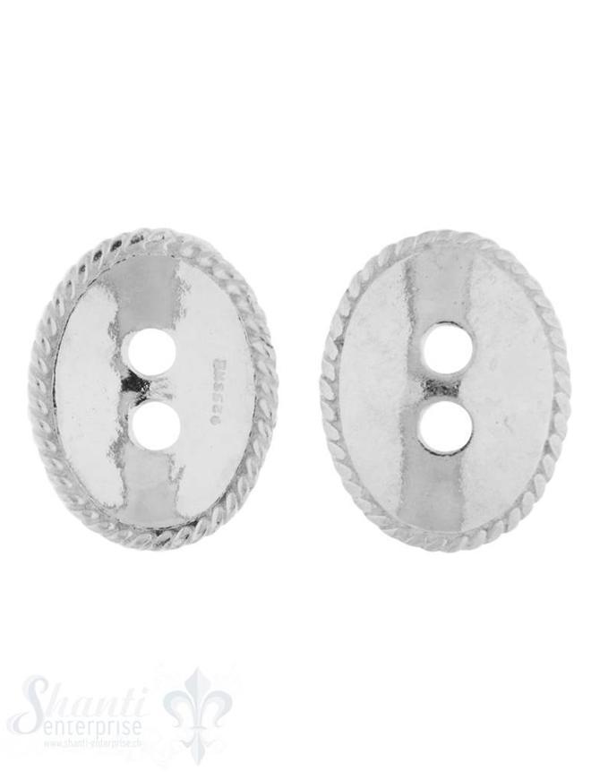Knopf Silber hell oval 17x13 mm gewölbt mit 2 Löch ern iD 2,4 mm 1 Pack = 3 Stk. ca. 4 gr.
