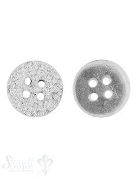 Knopf Silber hell gehämmert 13 mm mit 4 Löchern iD