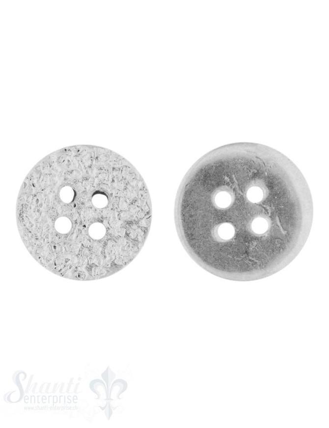 Knopf Silber hell gehämmert 13 mm mit 4 Löchern iD 1,3 mm 1 Pack = 3 Stk. ca. 5 gr.