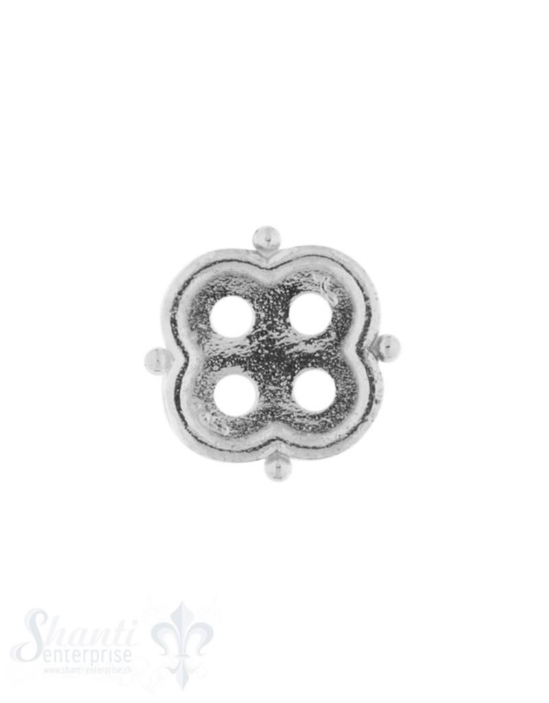 Knopf Silber hell Blume12 mm mit 4 Löchern iD 1.6