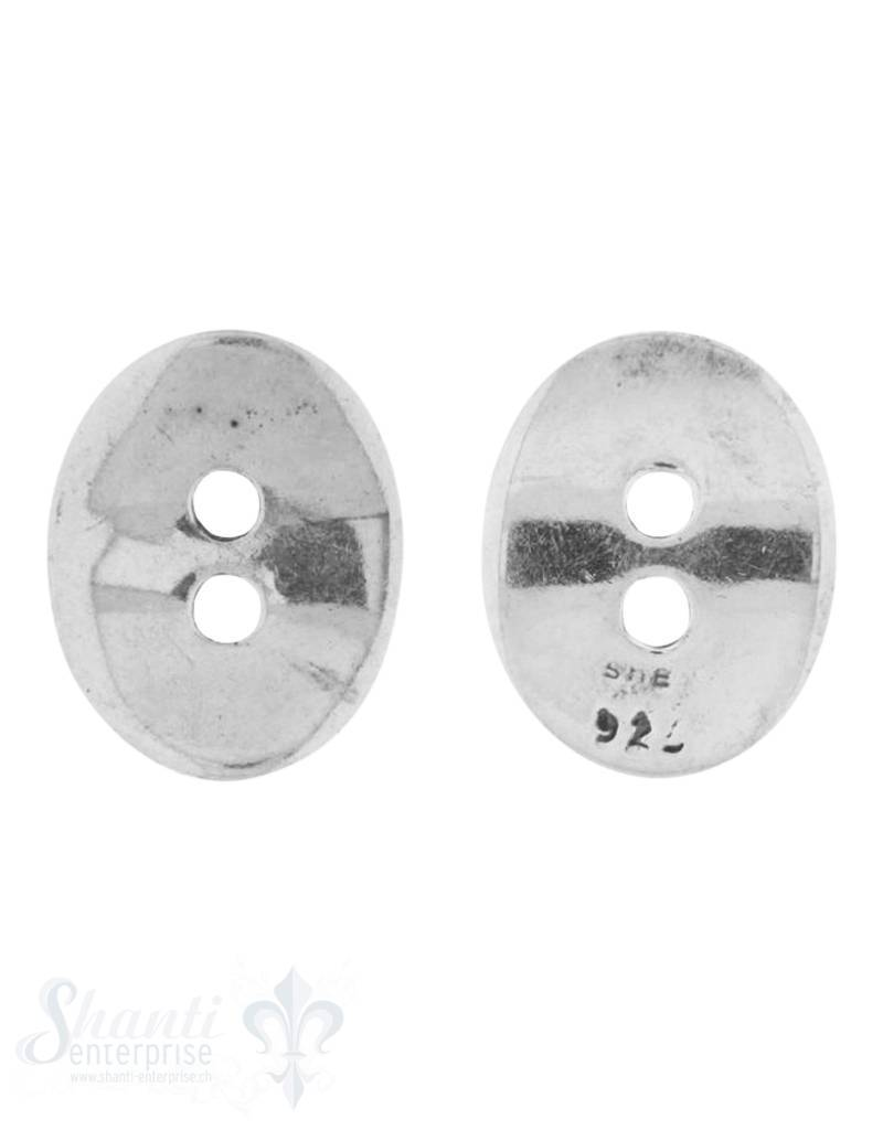 Knopf Silber hell oval 13x10 mm gewölbt mit 2 Löchern iD 1.7 mm 1 Pack = 4 Stk. ca. 4 gr.