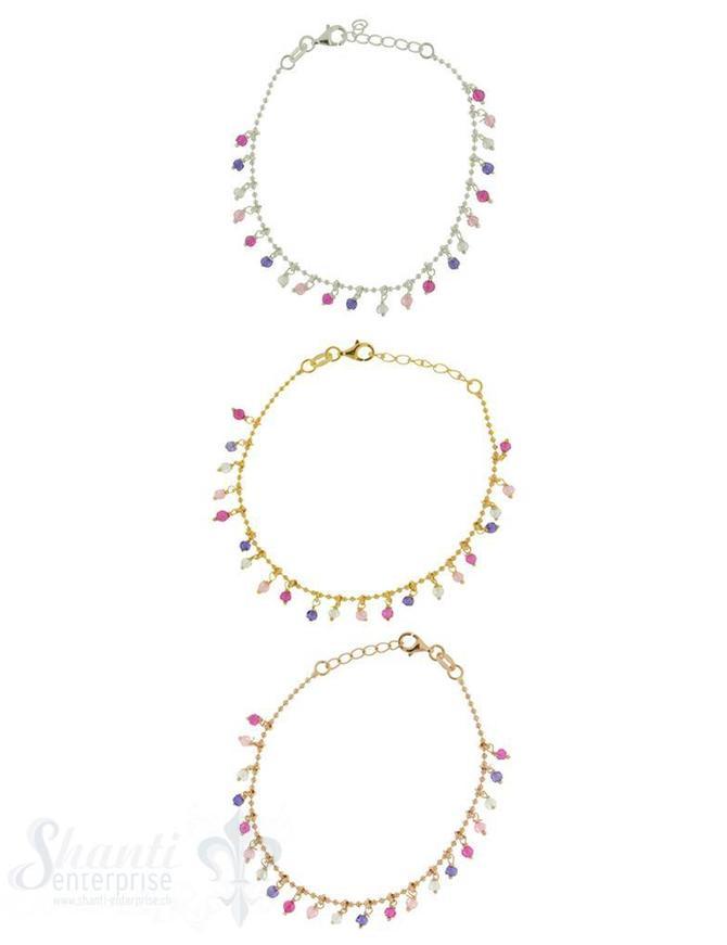 Armkette Si-Kügeli mit Anhängern rosa-violett 17-19 cm verstellbar
