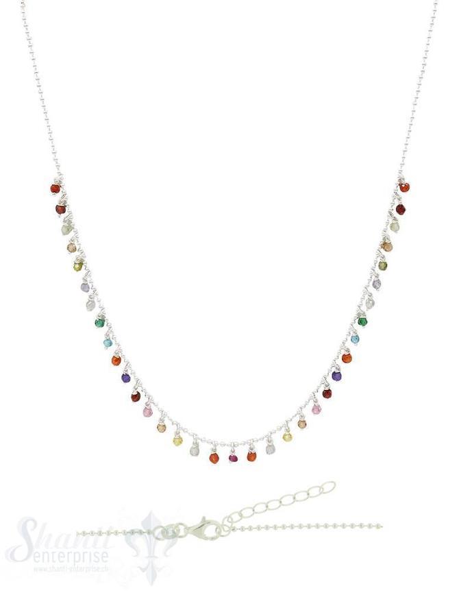 Halskette Si-Kügeli mit vielen Anh. Regenbogen, Zirkon, fein Grössen verstellbar 42-45 cm