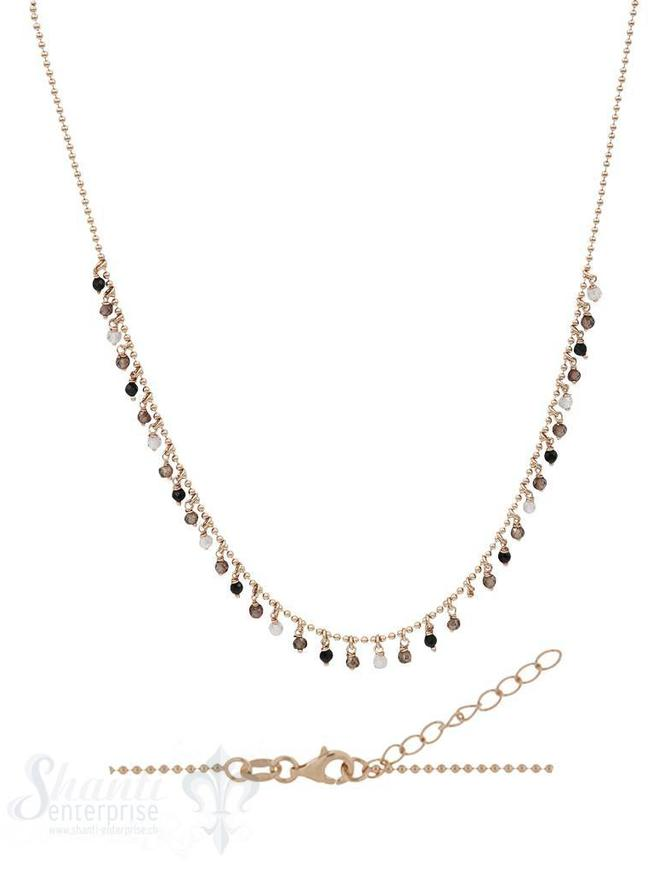 Halskette-Kügeli mit vielen Anhängern erdfarben 42-45 cm verstellbar