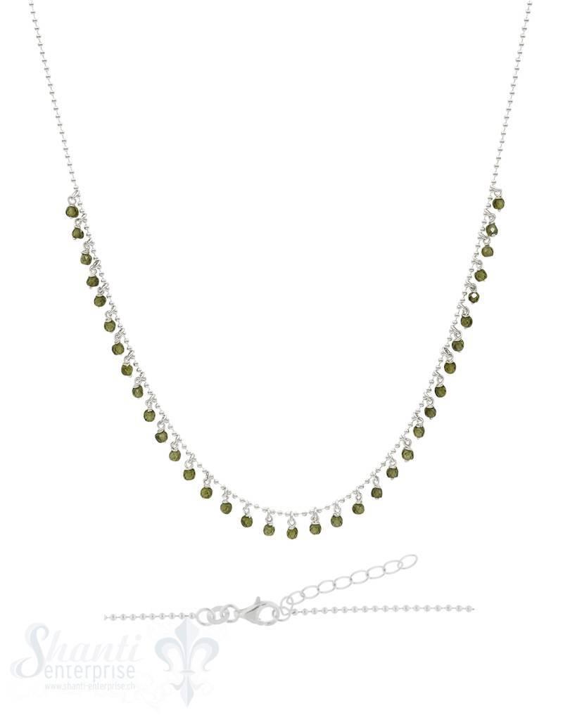 Halskette-Kügeli mit vielen Anh, olive farbige Zirkon fein Grössen verstellbar 42/45 cm