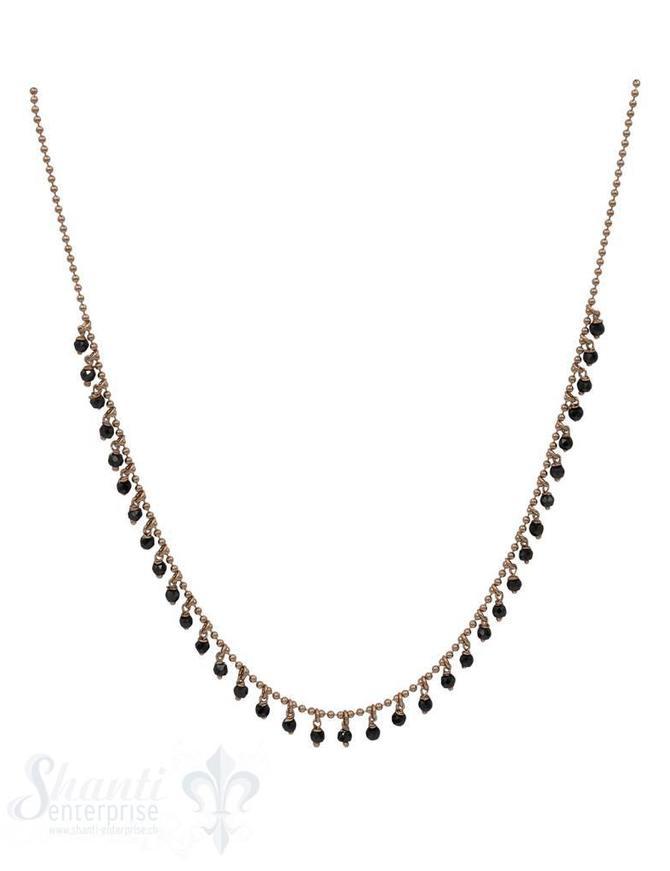 Halskette-Kügeli mit vielen Anhängern schwarz 42-45 cm verstellbar
