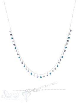 Halskette-Kügeli mit vielen Anhängern Blautöne 42-45 cm verstellbar