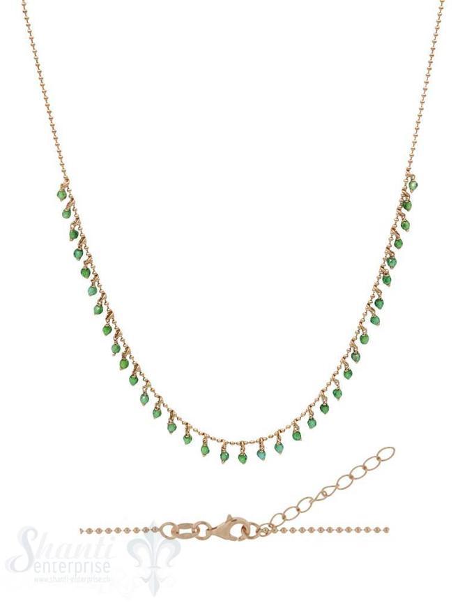 Halskette Si-Kügeli mit vielen Anh. grüner Zirkon, fein Grössen verstellbar 42-45 cm