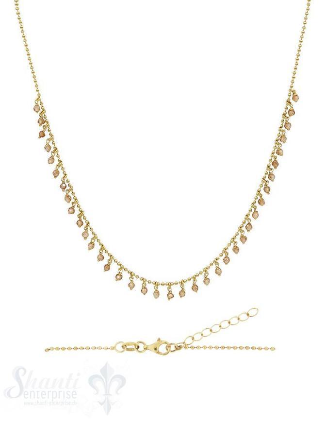Halskette Si-Kügeli mit vielen Anh. Champager- Zirkon, fein Grössen verstellbar 42-45 cm