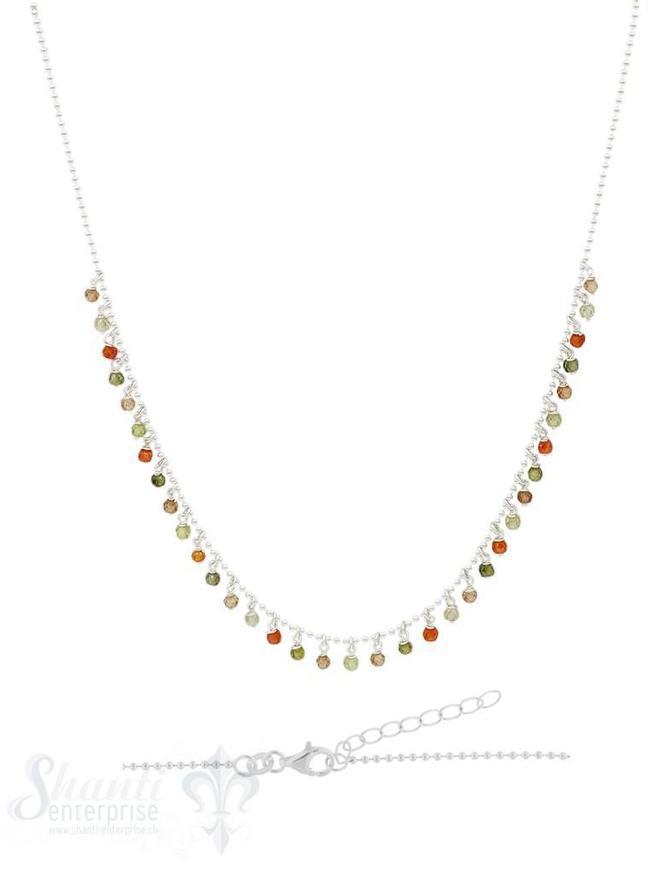 Silberkett mit Kügeli 42 / 45 cm:olive-orange Zirkon fein Grössen verstellbar
