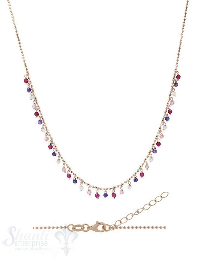 Halskette-Kügeli mit vielen Anhängern rosa-violett 42-45 cm verstellbar