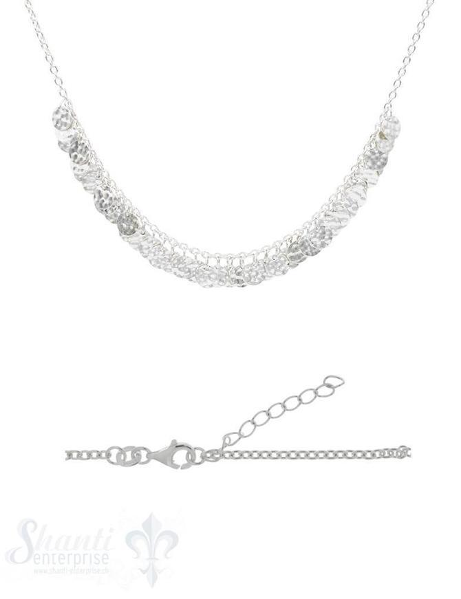Halskette Silber Anker mit Si-Plättlireihe un gehämmert Grössen verstellbar 36-44 cm cm
