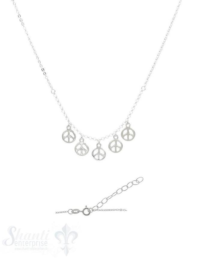 Halskette Silber Anker 38-42 cm mit 5 Peace-Zeiche hängend Grössen verstellbar mit Federringschloss