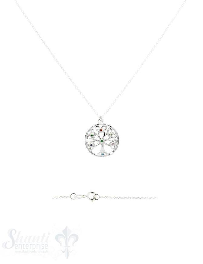 Halskette Silber Anker 41 cm mit Lebensbaum 19 mm mit farbigen mini Zirkonia