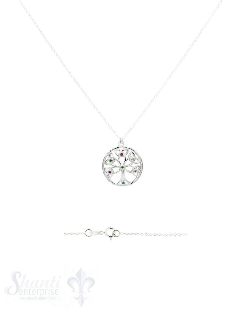Halskette Silber Anker 41 cm mit Lebensbaum 19 mm