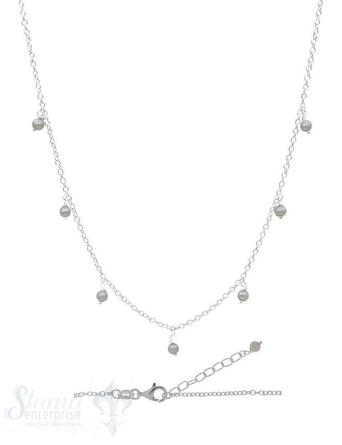 Silberkette Anker 42 bis 45 cm mit kleinen Perlen Anhänger Karabiner