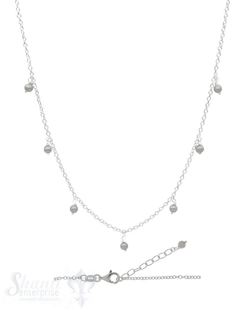Silberkette Anker 42 bis 45 cm mit kleinen Perlen