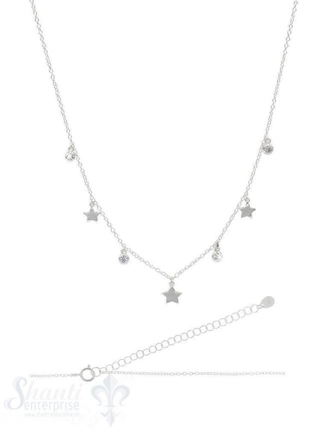 Halskette kurz Silber Anker mit Stern u. Zirkonia 1:1 36-44 cm Grössen verstellbar Federringschloss