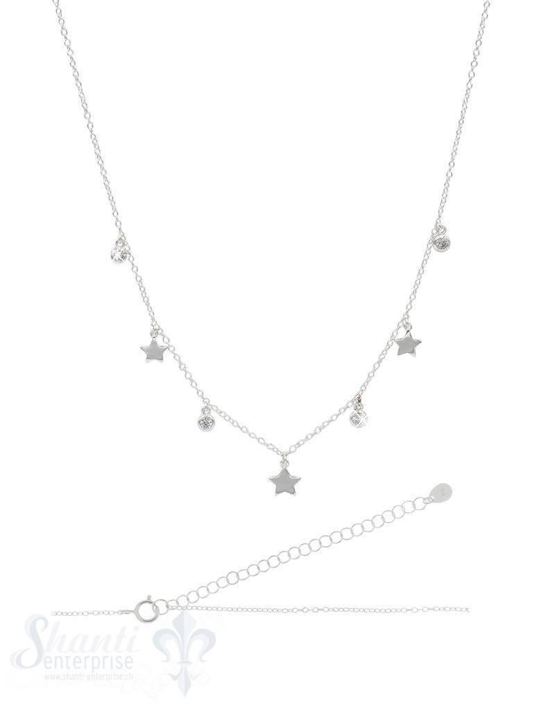 Halskette kurz Silber Anker mit Stern u. Zirkonia