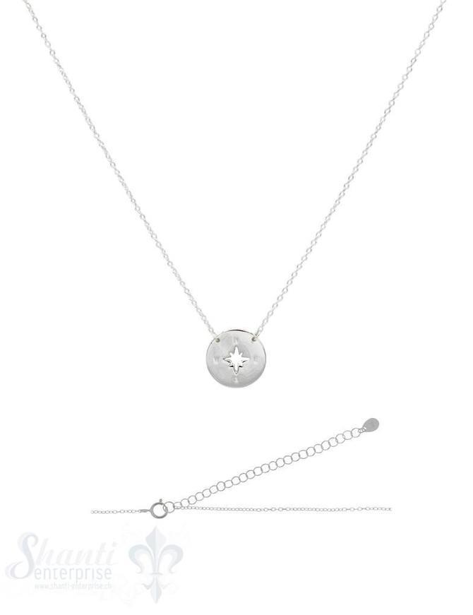 Halskette Anker fein Silber hell mit  Plaquette Kompass ausgestanzt 38-45 cm Grössen verstellbar