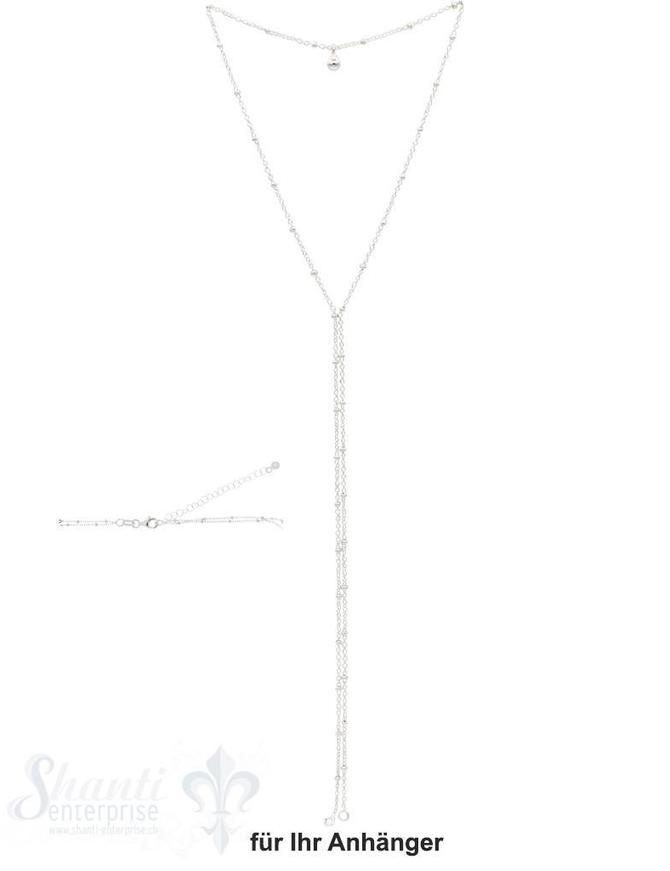 Ypsilonkette  zweireihig Fantasie mit Kügeli mit 2 Endenketten Grössen verstellbar 52 bis 56 cm Karabiner