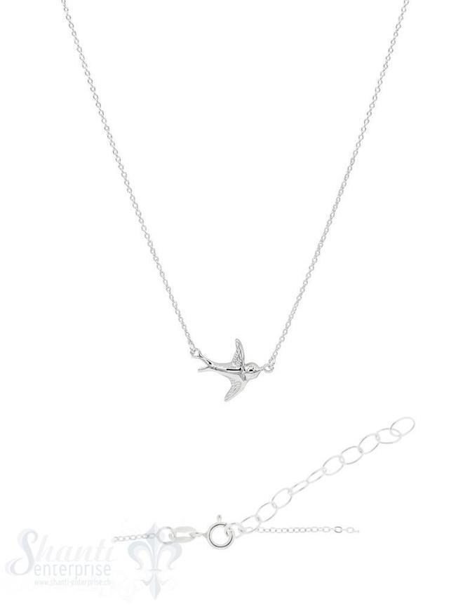 Halskette Silber Anker mit Schwalbe integriert Grössen verstellbar 41 bis 45 cm Federringschloss