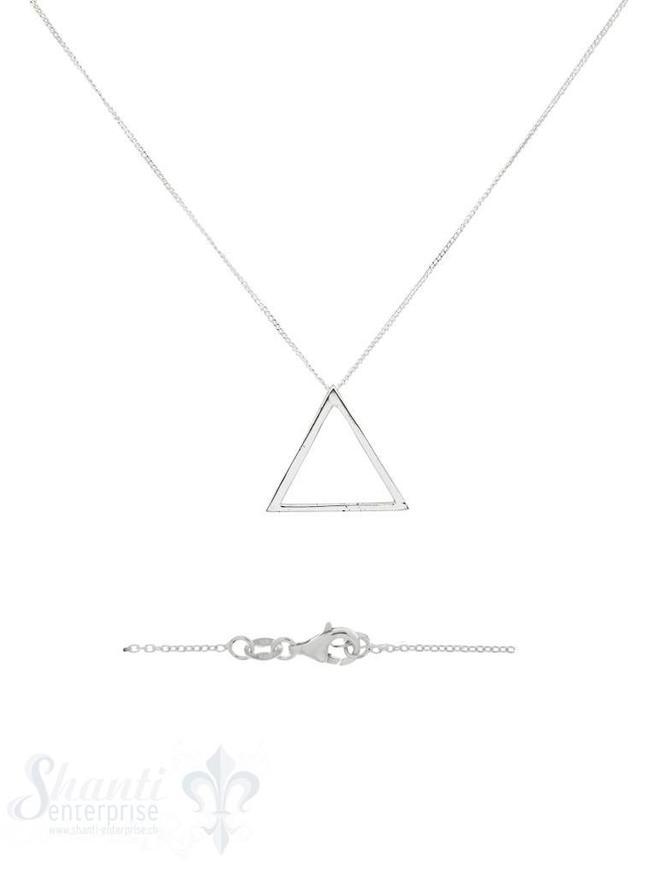 Halskette Silber Anker mit Dreieck 24 mm 3-D poliert Karabiner 40+45 cm Grössen verstellbar