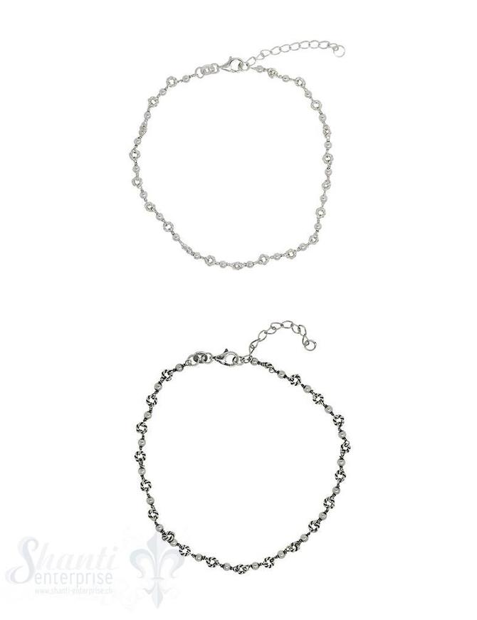 Fussketteli Silber hell Fantasie 21-24 cm Grössen verstellbar mit Karabiner