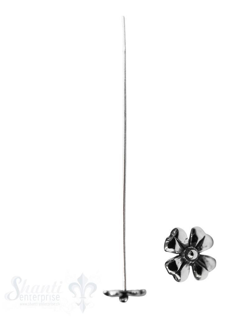 Silbernadel geschwärzt Kleeblatt 56 mm 0.8 mm Dick