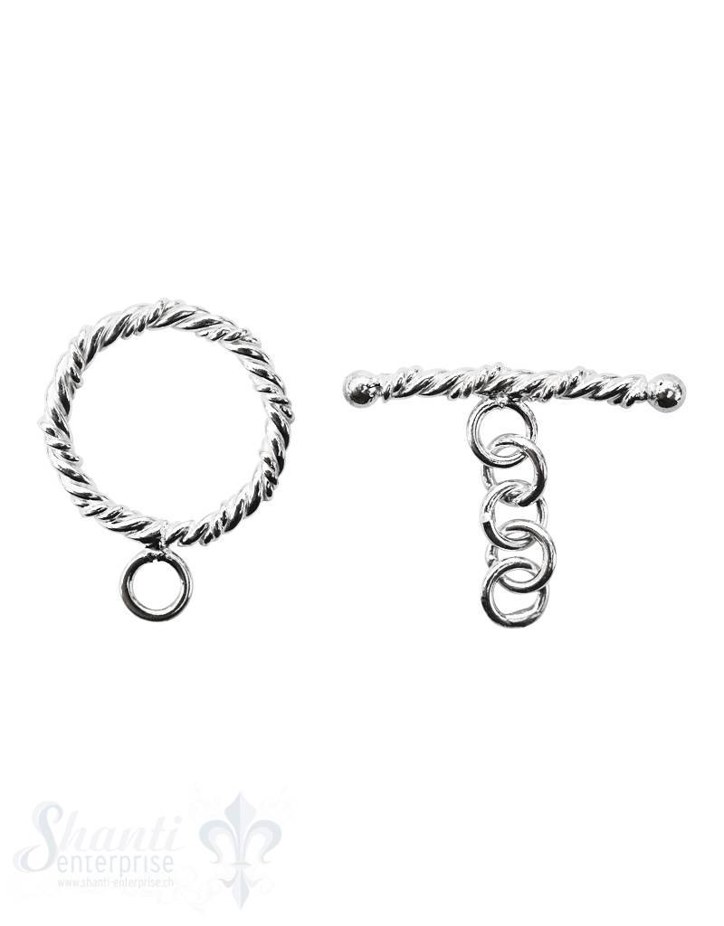 Knebelverschluss Silber hell verziert gedreht mit  Kettenverlängerung 2-teilig