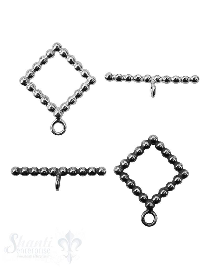 Knebelverschluss Silber Quadrat getupft mm 2-teilig