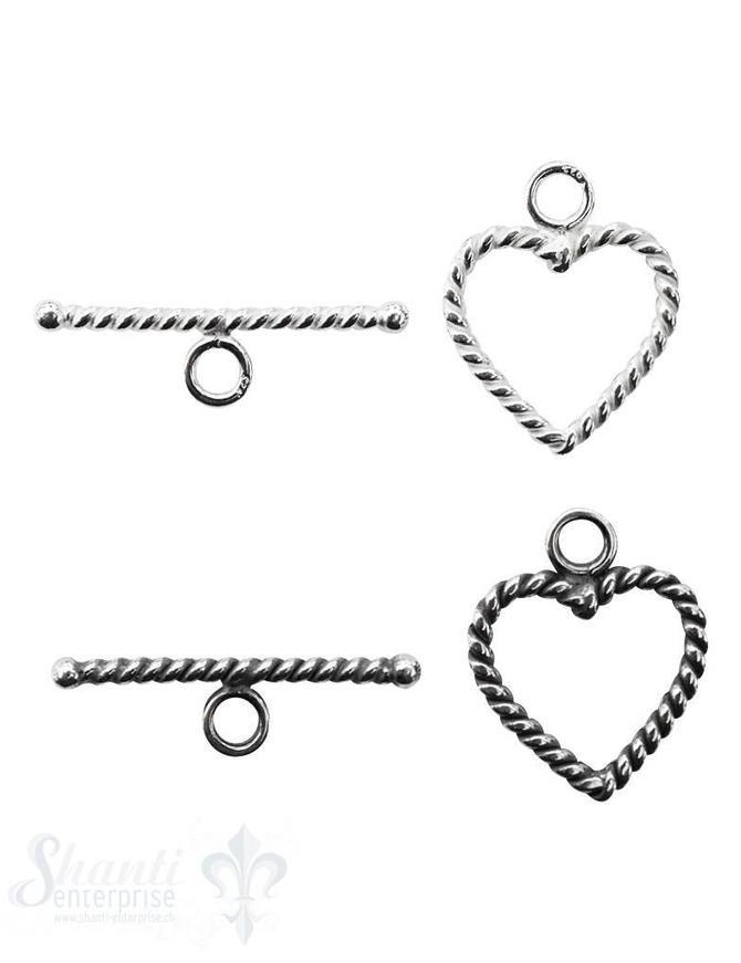 Knebelverschluss Herz gedreht 17x14 mm 2-teilig