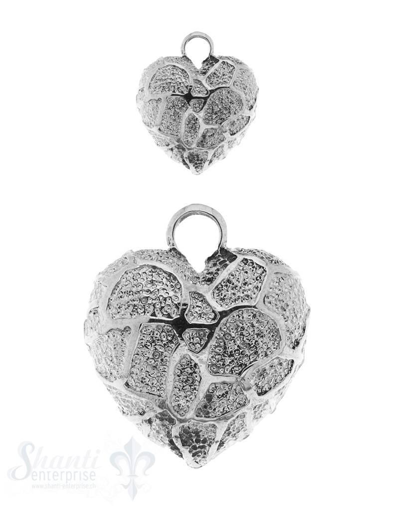 Anhänger Silber Herz unregelmässig verziert mit Bügel