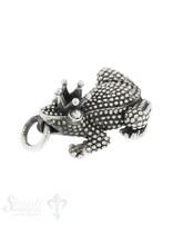 Anhänger Silber Frosch mit Krone 36x22 mm