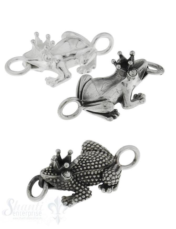 Silberteil mit Doppelösen Frosch mit Krone 43x23 mm