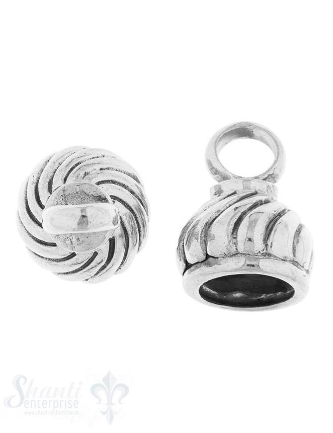 Lederkappe Silber geschwärzt Zwiebel gedreht 11x13 mm iD 8 mm Öse 5.4 mm