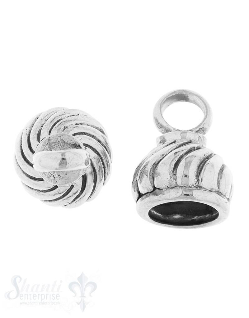 Lederkappe Silber geschwärzt Zwiebel gedreht 11x13
