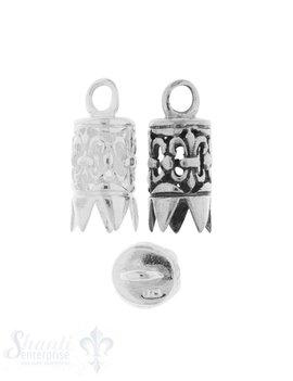 Lederkappe Silber rund 8x14 mm verziert D 6 mm fixe Oese ID 2.9 mm  1Pack = 2 Stk.