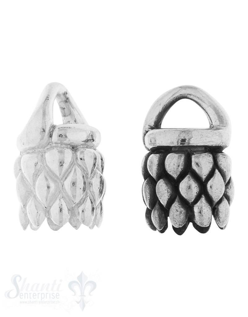 Lederkappe Silber rund 13x12 mm Rhomben iD 7.7 mm Öse fix 6x4 mm 1 Pack = 1 Stk. ca. 7 gr. gr.