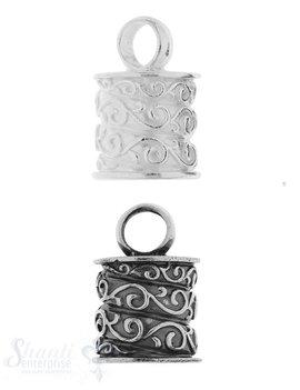 Lederkappe Silber rund 15x16mm ID: 11.3 ID Oese 6.3 mm 1 Pack = 1 Stk. ca. 11 gr.