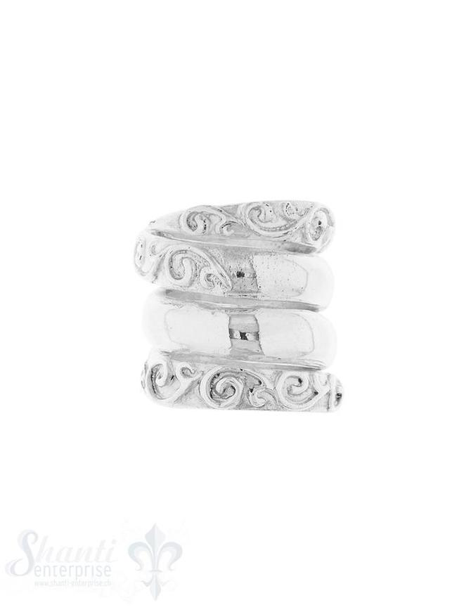 Lederzwischenteil Silber hell Spirale verziert 18x 17 mm Loch 13.5 mm