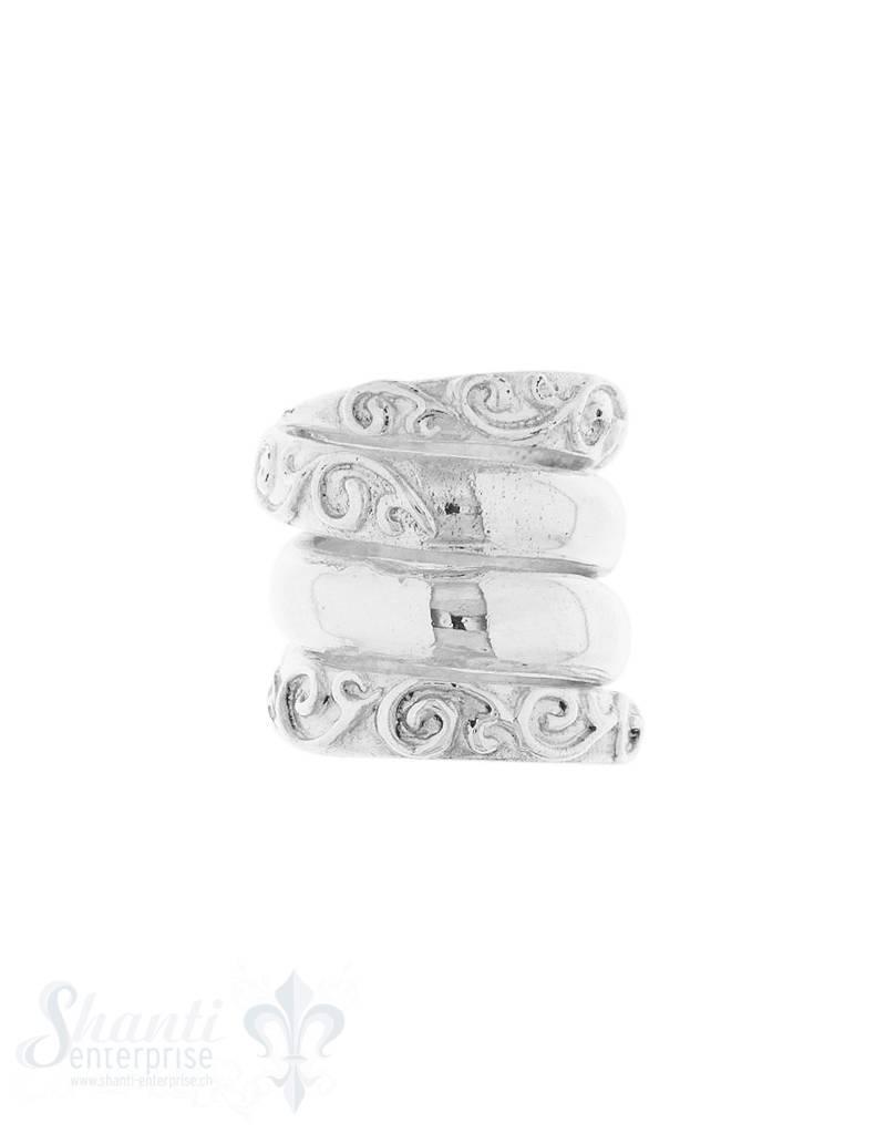 Grosslochperlen Silber hell Spirale verziert 18x