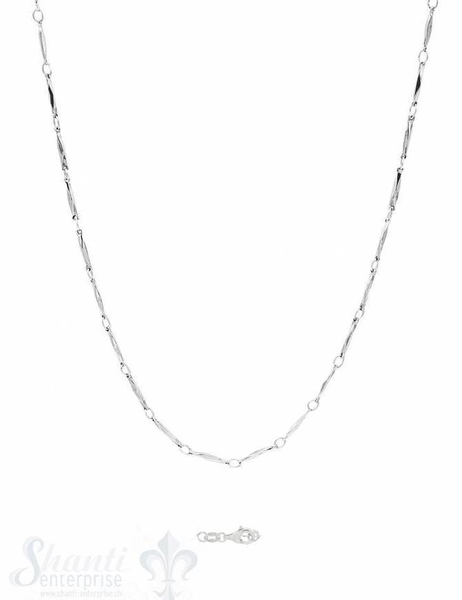 Silberkette Fantasie Glieder schmal gedreht 100 cm Karabiner