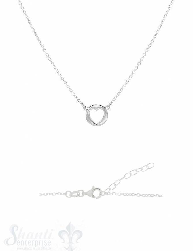 Silber-Halskette 34-37 cm Paquette mit Herz ausges tanzt Grössen verstellbar mit Karabiner